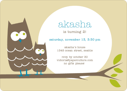 Wise Owl Modern Birthday Invitation - Pale Yellow
