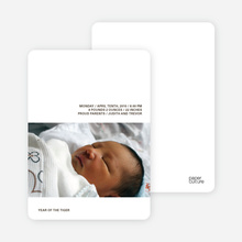 Tiger Seal Birth Announcement - Light Charcoal