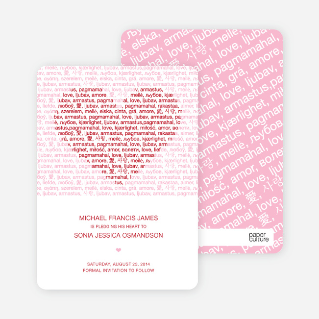 Words of Love Save the Date Cards - Berry Punch