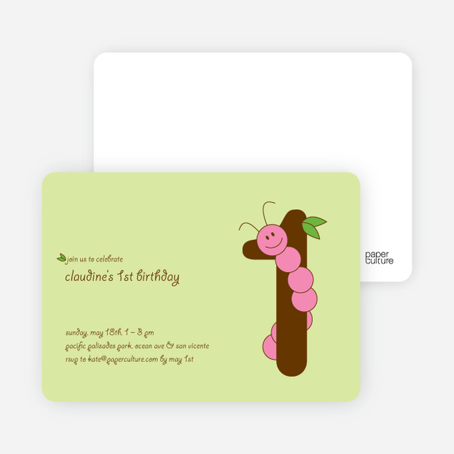 Worm Modern 1st Birthday Invitation - Pink