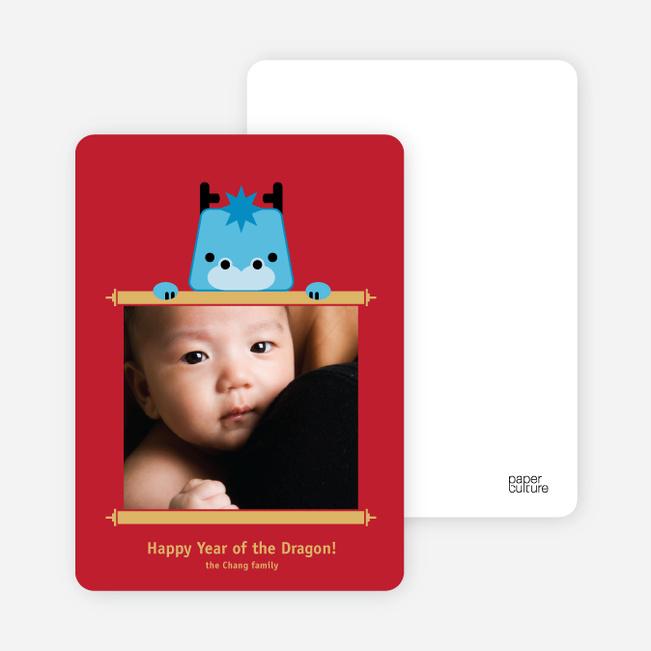 Year of the Dragon Photo Cards – Dragon Scroll - Cornflower Blue