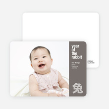 Year of the Rabbit Photo Card for Chinese New Year - Silver Grey