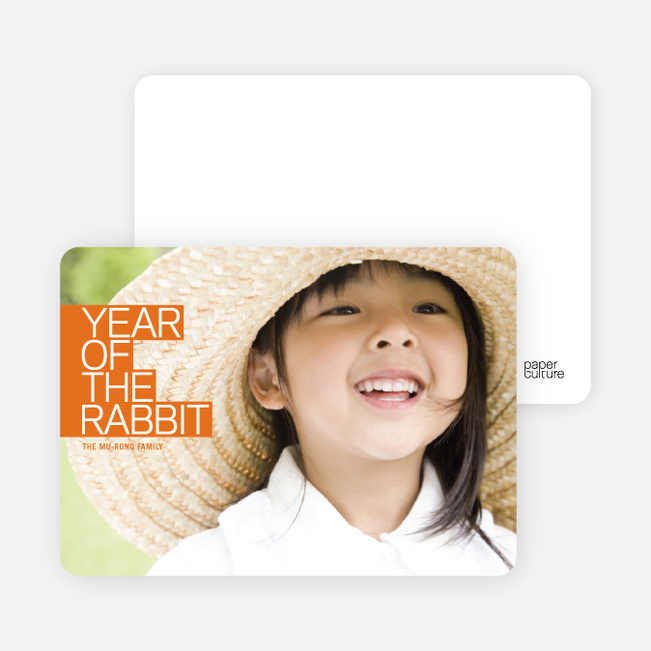 Year of the Rabbit Photo Cards, Bold and Modern - Dutch Orange