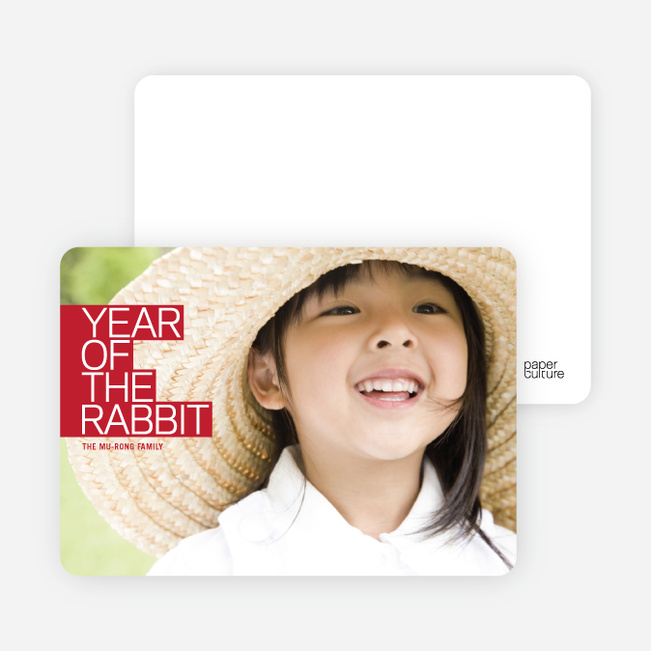 Year of the Rabbit Photo Cards, Bold and Modern - Crimson