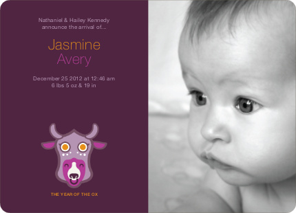 Year of the Ox Modern Birth Announcement - Grape