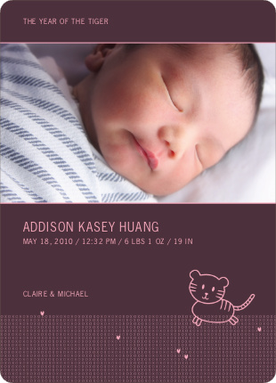 Year of the Tiger Photo Birth Announcements - Pink