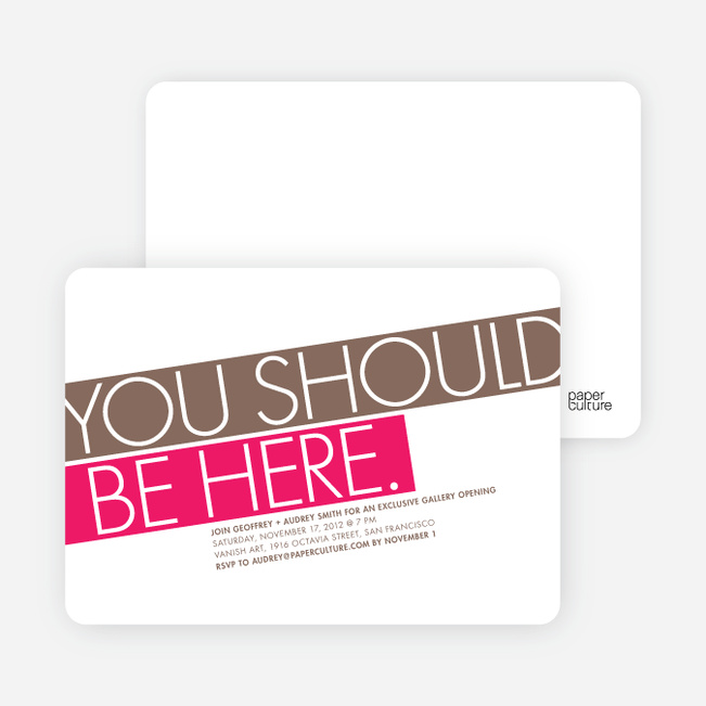 You Should Be Here Party Invitations - Hot Pink