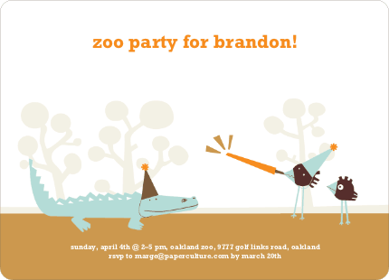 Zoo Animal Birthday Party Invitations - Carrot Orange