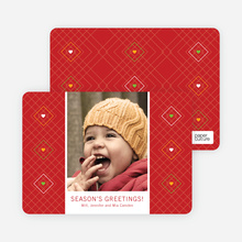 Argyle Hearts Holiday Cards - Red