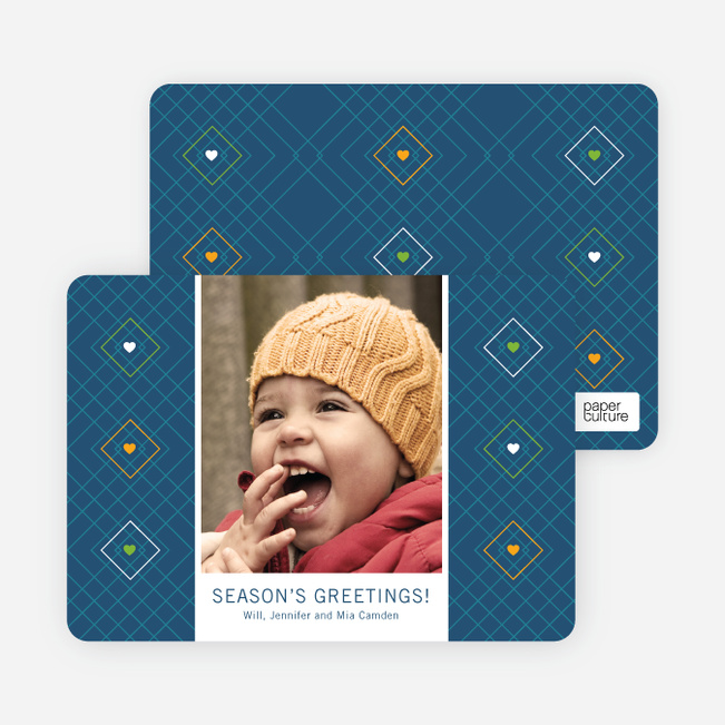 Argyle Hearts Holiday Cards - Blue