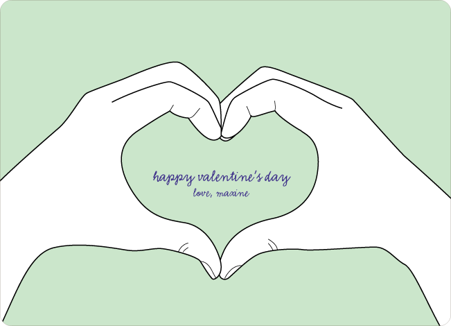 Valentine's Day Hands form the Shape of a Heart - Green