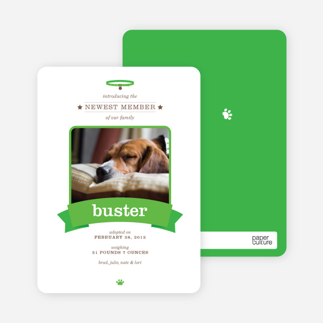 Banner Announcement Dog Photo Cards - Green