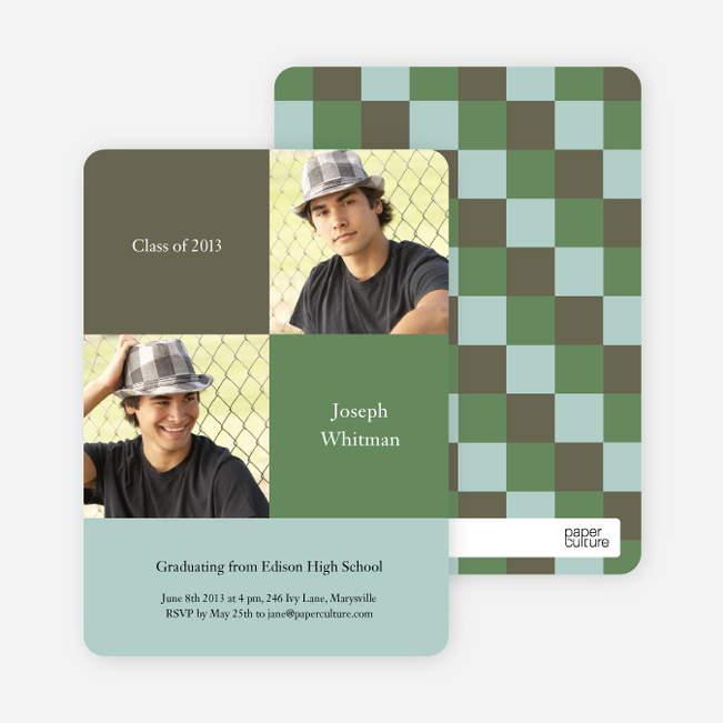 Bold Geometric Graduations Cards - Green