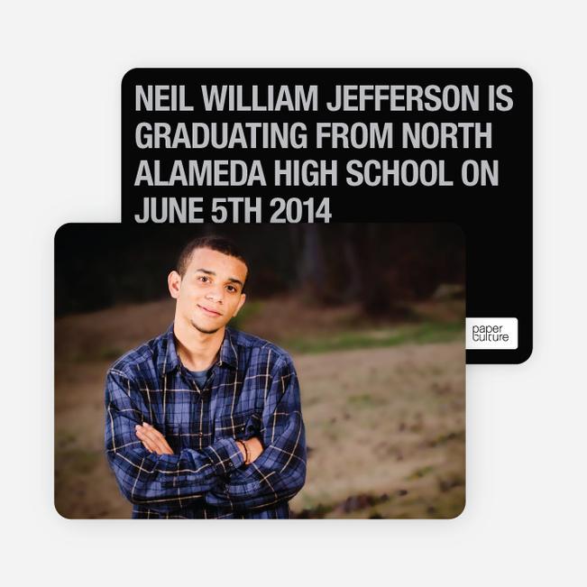 Bold Graduation Announcements and Invitations - Black