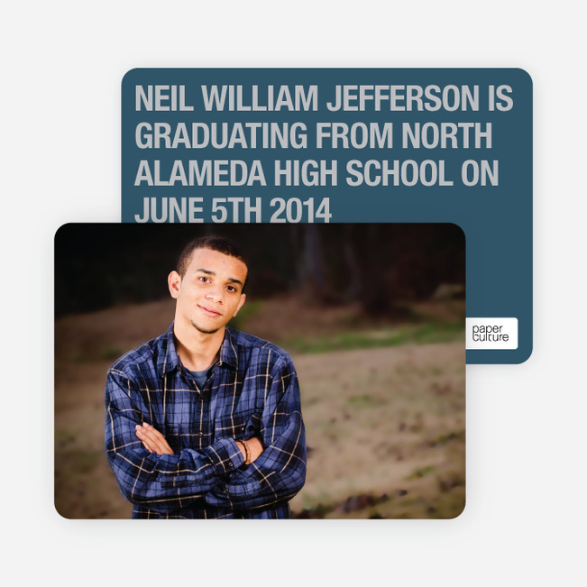 Bold Graduation Announcements and Invitations - Blue