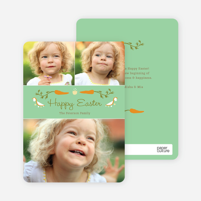 Carrot Themed Easter Photo Cards - Green