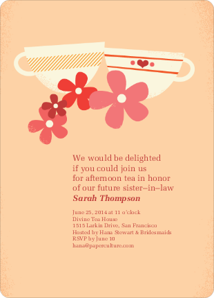 Casual Tea Bridal Shower Invitations - Brown