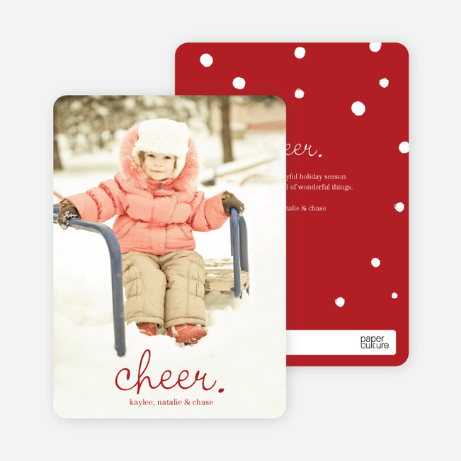 Cheer, Cheerful Holiday Photo Cards - Red