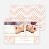 Chevron Stripes Baby Announcements - Orange