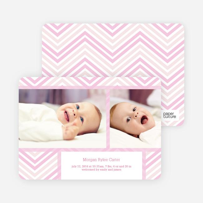 Chevron Stripes Baby Announcements - Pink