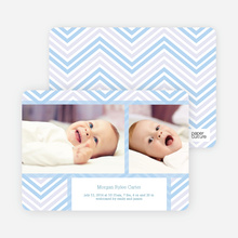 Chevron Stripes Baby Announcements - Blue