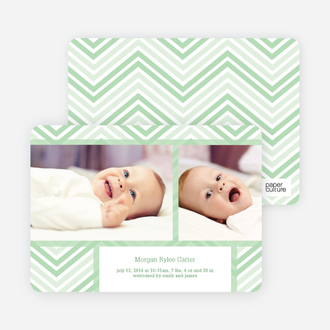 Chevron Stripes Baby Announcements - Green