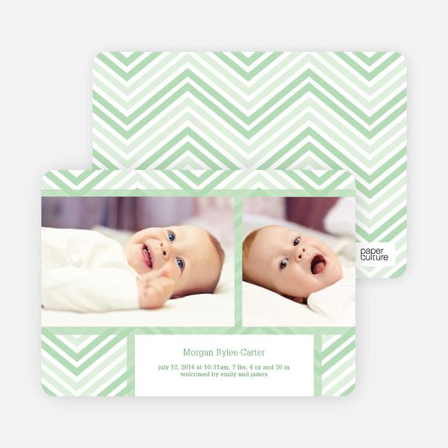 Chevron Stripes Baby Announcements - Green