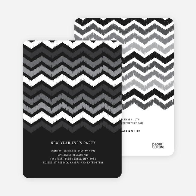 Chevron Stripes New Year's Invitations - Black