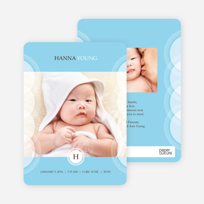 Circular Initials Photo Birth Announcements - Blue