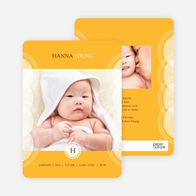 Photo Birth Announcements: Circular Initials - Orange