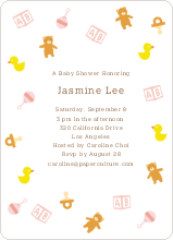 The Baby Classics Baby Shower Invitations: Bears, Ducks, Blocks, Pacifiers and Rattles - Orange