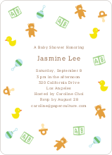 The Baby Classics Baby Shower Invitations: Bears, Ducks, Blocks, Pacifiers and Rattles - Green