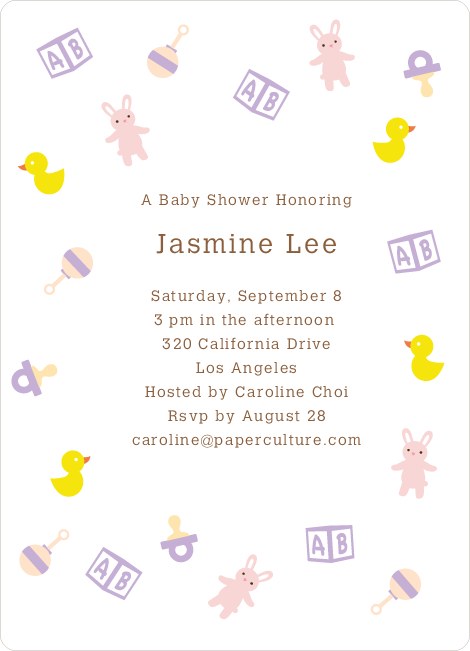 The Baby Classics Baby Shower Invitations: Bears, Ducks, Blocks, Pacifiers and Rattles - Purple
