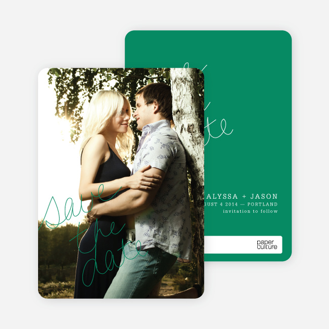 Cloud Writer Save the Date Cards - Green