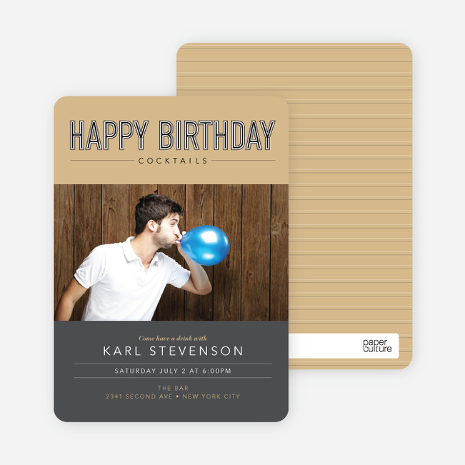 Cocktail Themed Birthday Party Invitations - Grey