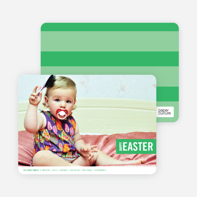 Colorful Easter Band Photo Cards - Green