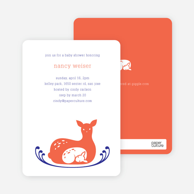 Deer Mom Deer Themed Baby Shower Invitations - Red