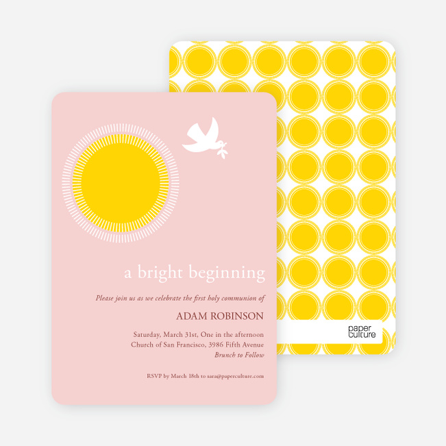 Dove Blessings Holy Communion Invitations - Pink