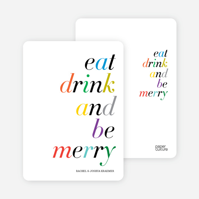Eat, Drink and Be Merry Holiday Party Invitations - Multi