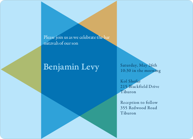 Modern Star of David Bat and Bar Mitzvah Invitations - Blue