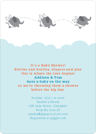 Flying Elephant Baby Shower Invites - Blue