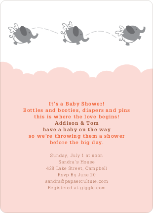 Flying Elephant Baby Shower Invites - Orange