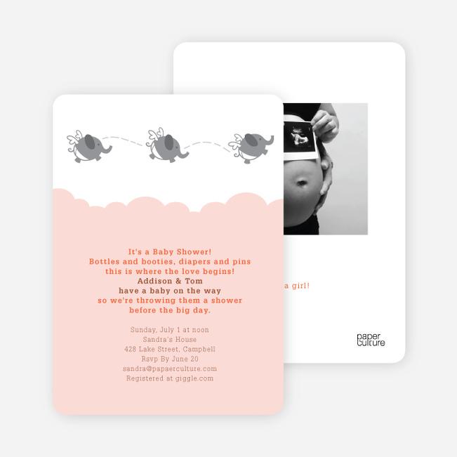 Flying Elephant Baby Shower Invites - Orange