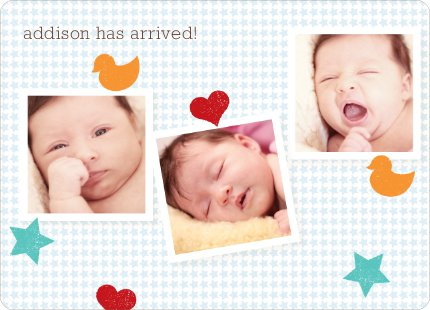 Fun Sticker Birth Announcements - Blue