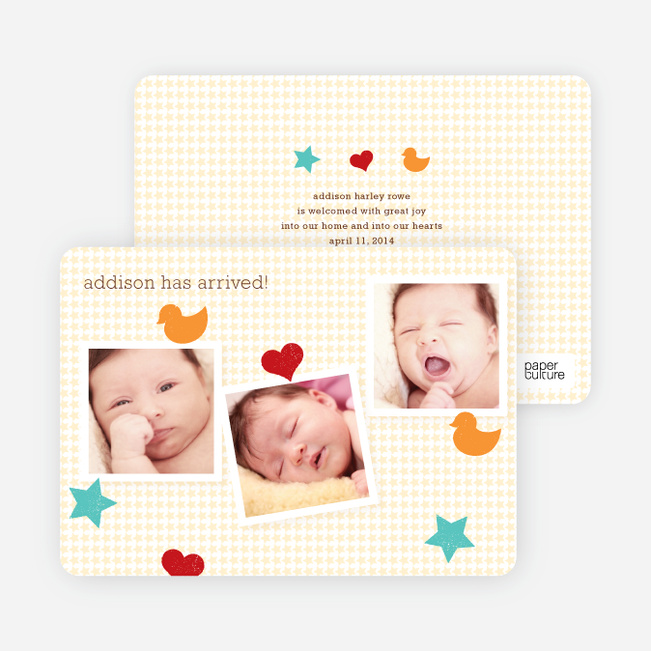 Fun Sticker Birth Announcements - Gray