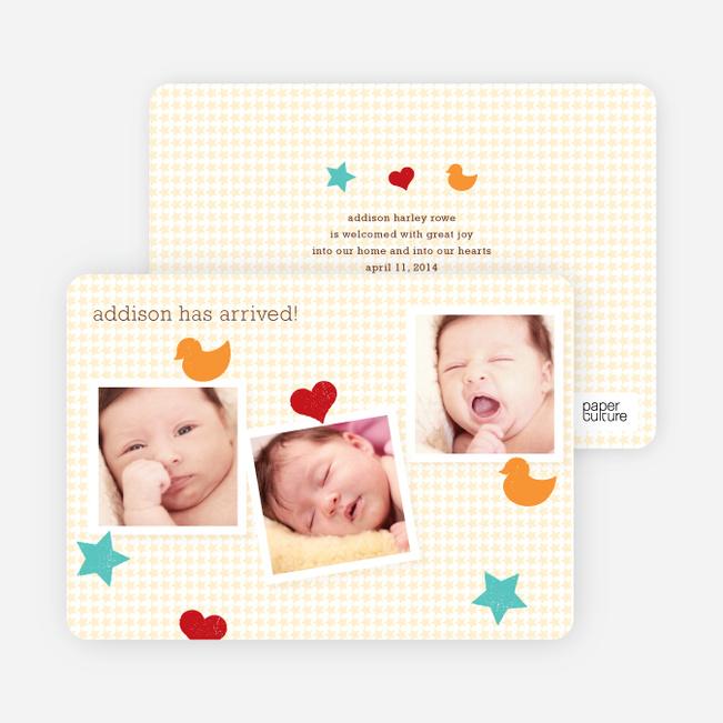 Fun Sticker Birth Announcements - Gray