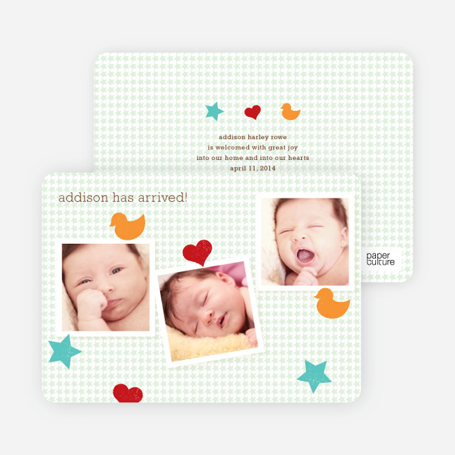 Fun Sticker Birth Announcements - Green