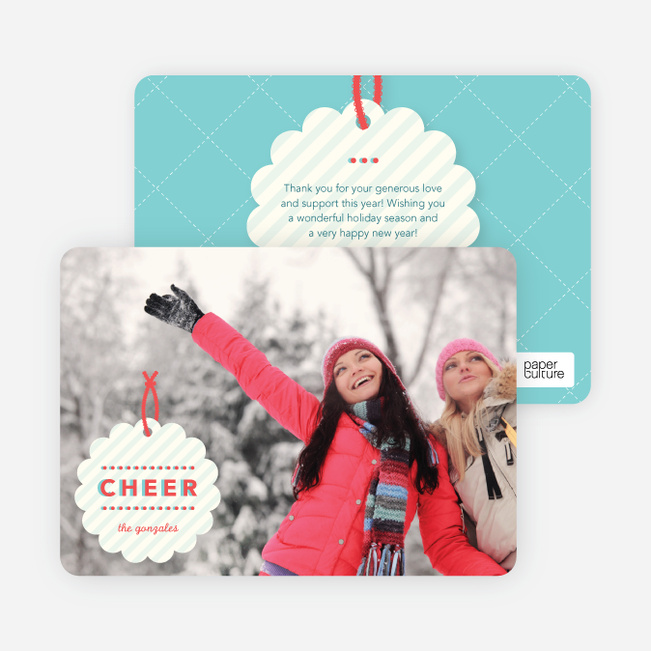 Gift Tag Holiday Photo Cards - Blue