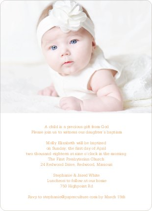 God's Gift Baptism Invitations - Orange
