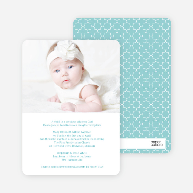 God's Gift Baptism Invitations - Blue